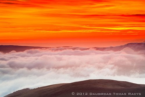 uk red orange cloud mist mountain cold colour fog wales sunrise landscape flow dawn golden climb saturated walk low hill breconbeacons land strong inversion welsh unreal distance penyfan