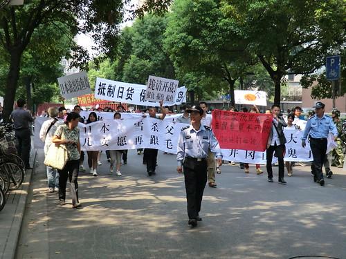 在上海日本領事館への反日デモ