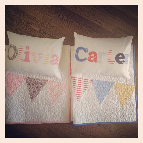 Custom quilts and pillows for twins complete!