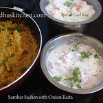 sambar rice with onion raita