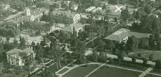 Aerial view of Pomona College in 1957. A large white X marks where Seaver South would eventually be built. This is one of the few images in which you can see Harwood Hall of Botany in the middle of the Academic Quad, between Mason and Pearsons halls.