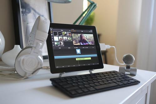 An iPad set up on a stand.