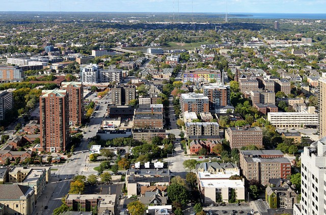 Looking north from downtown Milwaukee to Yankee Hill, East Side, Beerline, Riverwest, and Beyond
