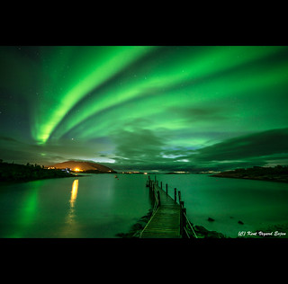 Aurora over the pier.