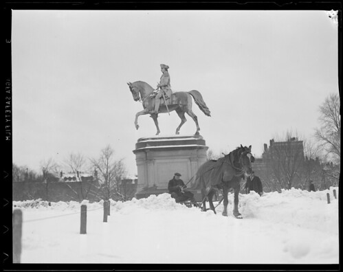 horse, plow, snow, statue, washington, mount, boston, public garden