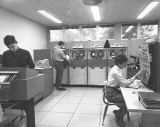 Pomona's new IBM System 360 computer in the Computer Center at Millikan Laboratory in 1964