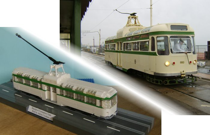 A quick comparison picture between a LEGO® model of a Blackpool Coronation tram and the real thing