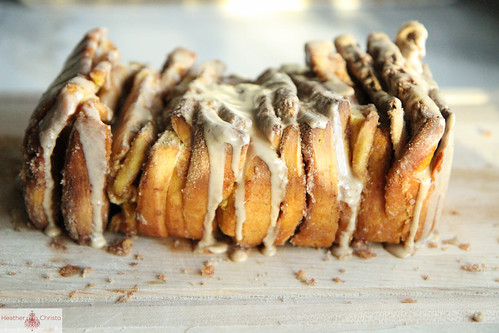 Pumpkin Cinnamon Pull Apart Bread with Maple Glaze from Heather Christo