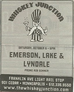 10/06/12 Emerson, Lake & Lyndale @ Whiskey Junction, Minneapolis, MN