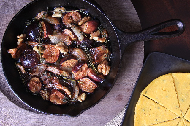 Balsamic Roasted Figs and Shallots with Herbed Socca