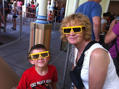 Evan and Nana getting ready for Toy Story Midway Mania....Evan's favorite ride.