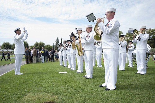 Tue, 08/16/2016 - 11:23 - 160816-N-KP948-009 DRAGUIGNAN, France (Aug. 16, 2016) - The U.S. Naval Forces Europe Band performs at a ceremony to honor service members who died during the World War II Allied landing on Southern France, code-named Operation Dragoon, at Rhone American Cemetery Aug. 16, 2016. The ceremony is part of a series of events that the U.S. Navy is participating in alongside French civilian and military officials to commemorate the 72nd Anniversary of Operation Dragoon.  (U.S. Navy Photo by Mass Communication Specialist Seaman Alyssa Weeks/Released)
