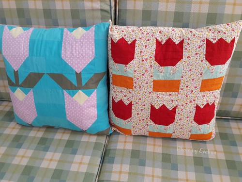 Tulip patchwork cushion covers