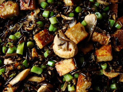 Stirfry Wild Rice with Mushroom, Tempeh, Green Beans