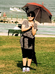 boston castle island umbrella portrait by the sea