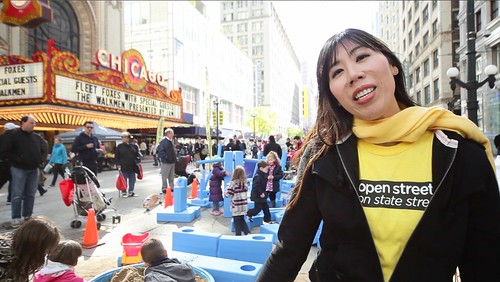 Julia Kim at Open Streets on State Street in 2011. Photo: Active Trans