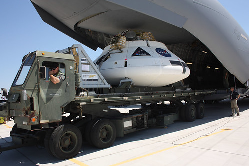 NASA Orion Drop Test Vehicle being loaded onto a C-17 at YPG Yuma Proving Ground