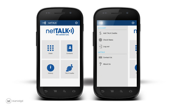 netTALK App Home and Menu Pages