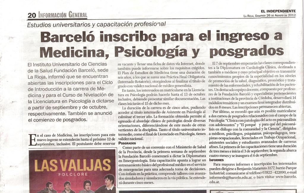 El Independiente - Barceló inscribe para el ingreso a Medicina, Psicología y posgrado - 26.08.12