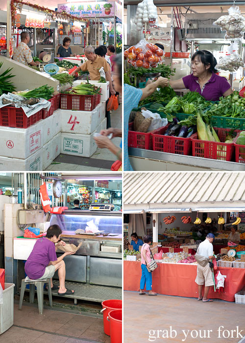 locals shopping for food at kallang estate fresh market singapore