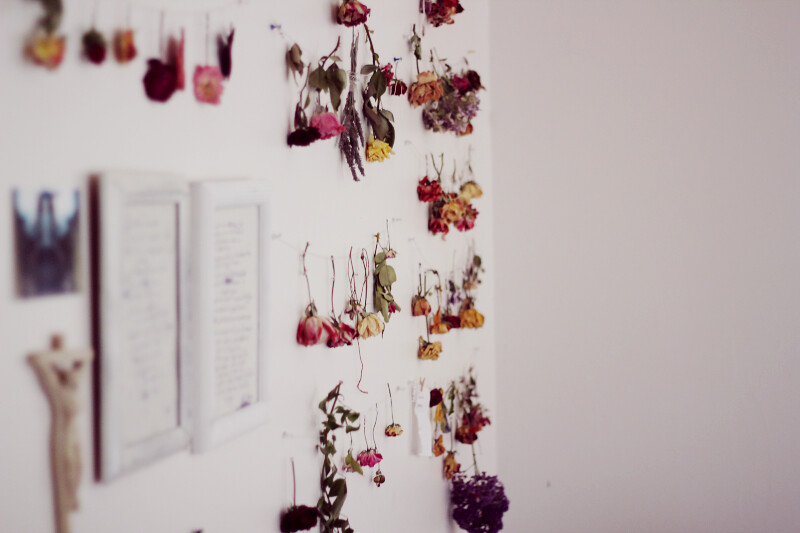 tumblr, images, photos, photography, bed, bedroom, flowers, dried flowers, decoration, design, interesting design ideas