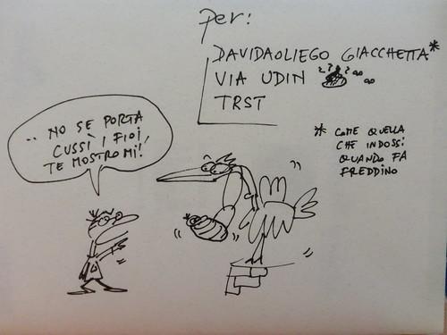 Davide che dà lezioni alla cicogna
