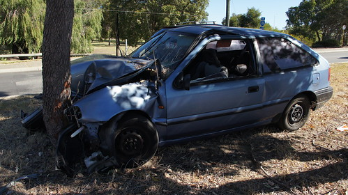 Crashed Hyundai Excel in Stirling, Perth