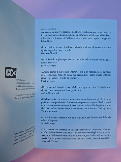 Si sente la voce. 8x8 / Oblique Studio. Carta Canta 2012. P. dello stampat. e risvolto di q. di copertina (part.), 1