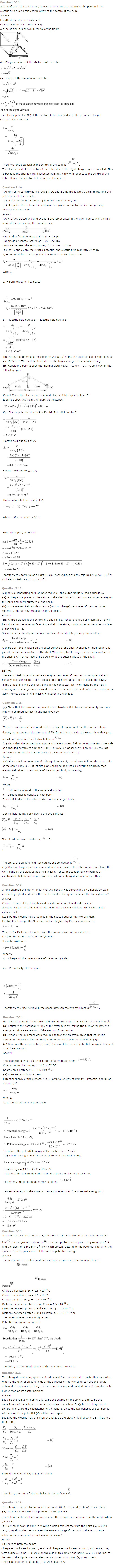 NCERT Solutions for Class 12 Physics
