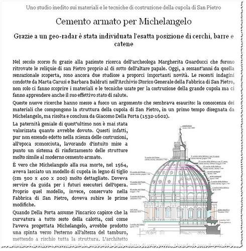 ROMA CRISTIANA RESTAURO ARCHITETTURA: Cemento armato per Michelangelo - Uno studio inedito sui materiali e le tecniche di costruzione della cupola di San Pietro. L`OSSERVATORE ROMANO, VATICANO. (06/04/2011, p. 5).