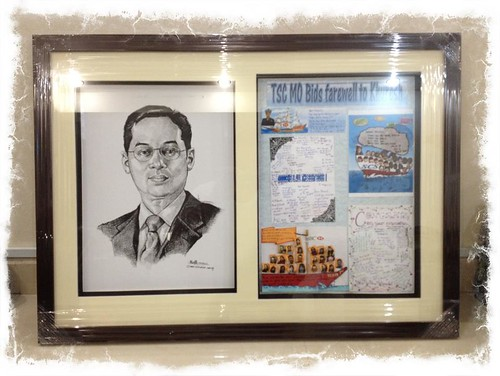 portrait in pen and brush for HSBC in 3D frame