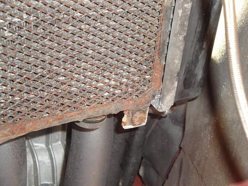 Rusty steel radiator guard