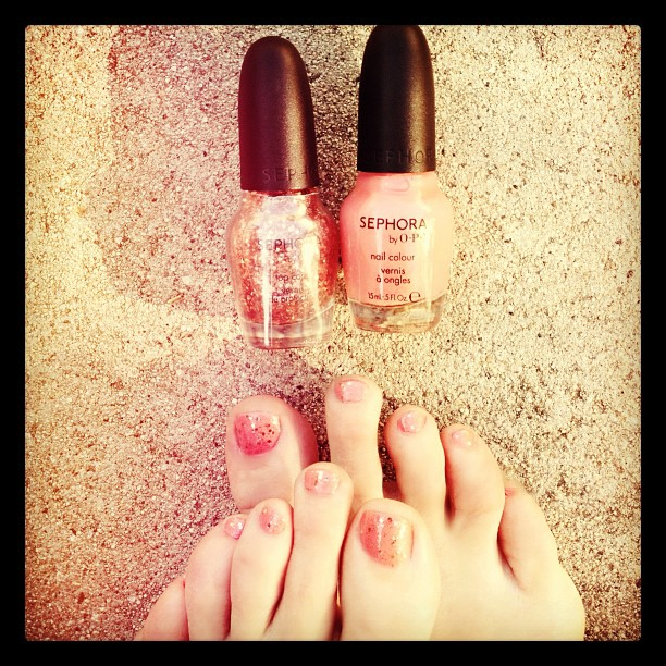 "Pretty nails, fugly toes... one last Summery pedicure. @sephora ""how cute is that?"" & ""traffic stopper copper"""