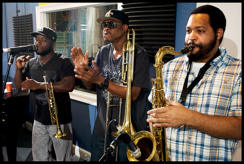 Corey Henry & the Treme Funktet playing live now, on air at WWOZ!   Photo by Ryan Hodgson-Rigsbee.