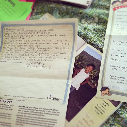 Writing to Elian, our @compassion child- she's 1 day younger than Gigi. #homeschooling #spanish
