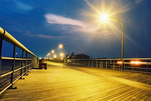 night longisland timeexposure boardwalk jonesbeach