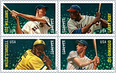 9cfb8482ab11 ... Cooperstown, NY. The very popular philatelic series based on historic  photographs honors Yankee Joe DiMaggio; Larry Doby of the Indians; Pirate  Willie ...