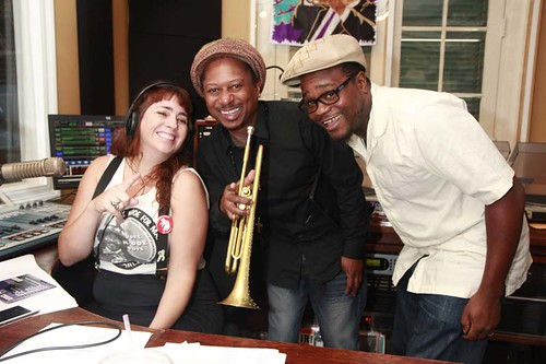 Ms Smalls with Kermit Ruffins and Derrick Freeman of the BBQ Swingers.   Photo by Parisa Azadi.
