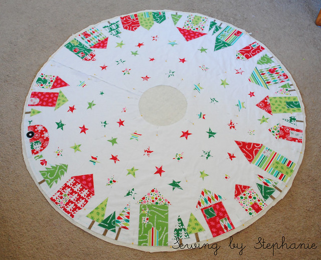 Basting Christmas Tree Skirt