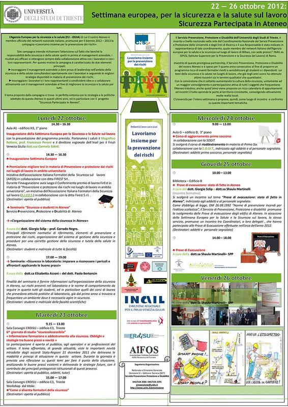 Calendario Della Salute.Settimana Europea Della Salute E Sicurezza Sul Lavoro