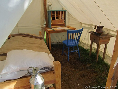 Inside a captain's tent in the Civil War Camp, Genesee Country Village & Museum, Mumford, New York