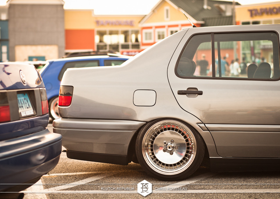 silver mk3 vw jetta gl gls vr6 2.0 schmidt th lines  at h2oi 2012 3pc wheels static airride low slammed coilovers stance stanced hellaflush poke tuck negative postive camber fitment fitted tire stretch laid out hard parked seen on klutch republik