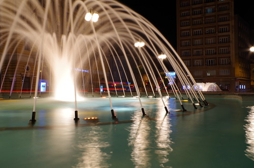 fountain rijeka long exposure night lights photo sky scraper buildings croatia fiume hrvatska