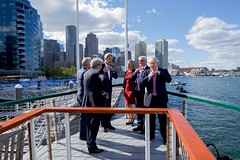 U.S. Secretary of State John Kerry and his male counterparts remove their ties aboard the 'Northern Lights' as he hosts the Foreign Ministers from the United Kingdom, France, Germany, Italy, and the European Union for a cruise around Boston Harbor in Boston, Massachusetts, on September 24, 2016, amid a daylong series of meetings of the so-called Quintet in the Secretary's home-state of Massachusetts. [State Department photo/ Public Domain]