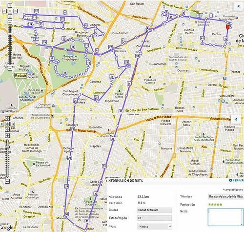 Ruta Maratón de la Ciudad de México 2012 con kilometros