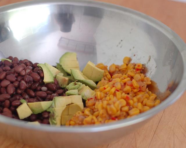 Beans, Avacado, corn salsa