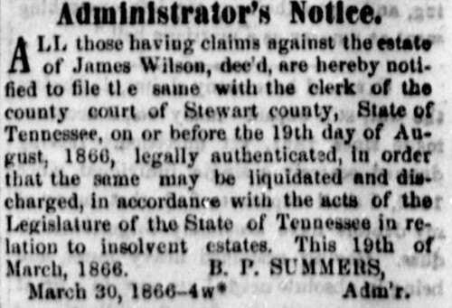 Clarksville Weekly Chronicle April 13, 1866 James Wilson, Basil Pinkney Summers
