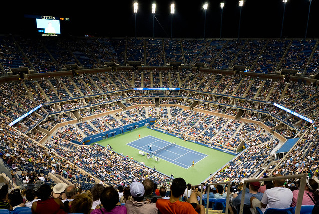 Arthur Ashe Stadium, as seen by the Nikon 1 V1 with 1 Nikkor 10mm f/2.8 lens.