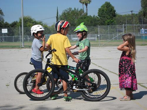 Bike riders and Gigi