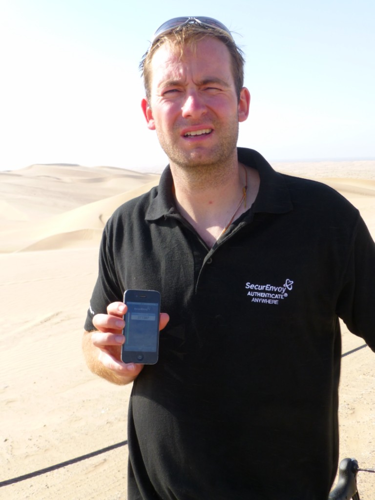 Two Factor Authentication taking place in a remote desert